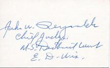 JOHN W REYNOLDS WISCONSIN GOVERNOR U.S. DISTRICT COURT  JUDGE SIGNED AUTOGRAPH
