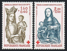 France B557-B558, MNH.Red Cross.Virgin with Child, Baillon,14th -16th cent. 1983