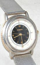 Vintage Fossil Watch Black/White Dial Silver Mesh Band JR-7570 Working