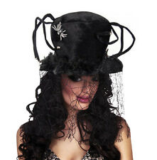 LADIES BIG BLACK SPIDER WEB HAT & COBWEB VEIL FANCY DRESS COSTUME WITCH HAT NEW