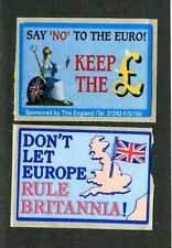 Vintage Poster Stamp Label pair  NO TO THE EURO KEEP THE POUND & Rule Britannia