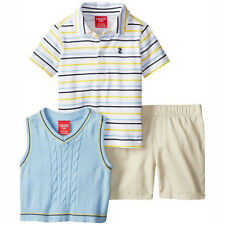 IZOD Baby Toddler Boy 3 Piece Polo Sweater Sweater Vest Shorts Blue 18 MO NEW