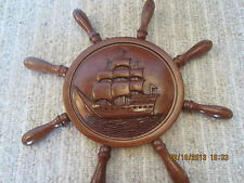 "NAUTICAL 20"", HAND CARVED WOODEN ""BOAT WHEEL"""