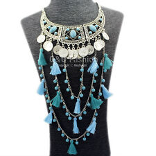 Boho Indian Silver Turquoise Moon Coin Hera Tassels Chain Choker Bib Necklace H9