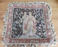 """NWT $90 Wool Woven Tapestry Beige Velvet Cushion Cover 18"""" x 18"""" Medieval"""