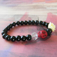 Red Skull Bride with Cream Rose Beaded Stretch Bracelet and Black Beads