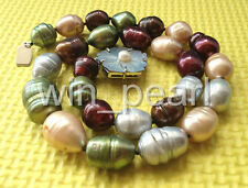 """Huge 17.5"""" 18mm multicolor baroque rice freshwater pearl necklace - shell clasp"""
