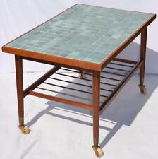 MODERN DANISH DESIGN - TEAK ROLLING TABLE with TILES - Wegner Era