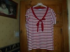 ladies size 22 red and white striped top,from joanna hope