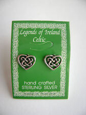 Sterling Silver Celtic Heart Hart Knot Design Irish Stud Earrings New