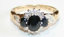 Very Impressive 9ct Gold Sapphire & Diamond Cluster Ring