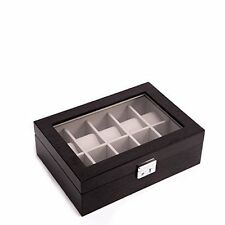 Large Watch Display Case Jewelry Box Leather Glass Top Invicta 12 Mens Black NEW