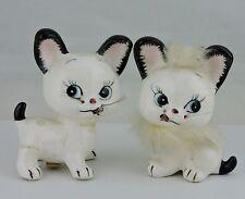 VINTAGE NOVELTY KITTEN CAT CHARACTER W/ REAL FUR SALT PEPPER SHAKER SET RARE