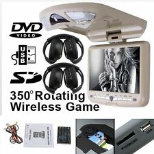 "9""FLIP DROP DOWN CAR CEILING ROOF CD DVD PLAYER LCD MONITOR IR FM TV USB+headset"