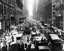 Traffic Jam 1920s NY USA Black and White Poster Print