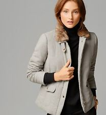 NEW MASSIMO DUTTI ZARA GROUP WOOLEN GREY QUILTED JACKET WITH FUR COLLAR SZ LARGE