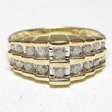 Estate 10K Yellow And White Gold 18 Round Brilliant Cut Diamond Ring 0.50 Cts