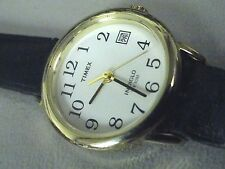 "Timex Indiglo Ladies NICE 8"" leather skinny band Date New battery CLEAN A+ 30WR"