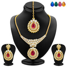 Sukkhi Gold Plated AD Necklace Set, Set of 5 Changeable Stone(2358NADA860)