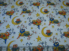3 Yards Quilt Cotton Fabric - Henry Glass Rhyme Time Owls & Moon White