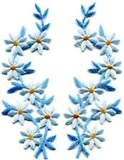 Light blue flowers floral boho granny chic applique iron-on patches pair S-1000