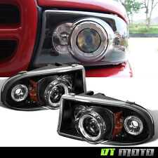 Blk 97-04 Dodge Dakota 98-03 Durango LED Halo Projector Headlights Corner Signal
