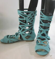 turquoise WOMEN SHOES ROMAN GLADIATOR MID-CALF SEXY SANDALS  SIZE  7.5