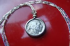 "Old 1930's USA Buffalo Nickel JEWELRY COIN Pendant on 30"" Sterling Silver Chain"