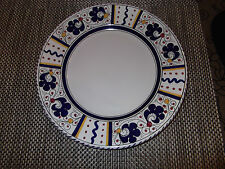 BEAUTIFUL ITALIAN  HAND PAINTED DERUTA POTTERY  BLUE ROOSTER DINNER PLATE