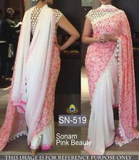 Bollywood  Designer Party Wear Pink & white  color Thread Work Saree