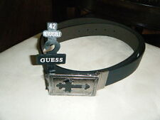 "42"" REVERSIBLE GUESS LEATHER BELT & BUCKLE BLACK BROWN CROSS INLAID COOL HTF"
