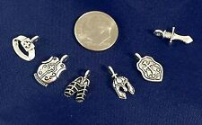 2 Mini Sets, 6 Armor Of God Charms Silver Christian Sword DYI Crafts Bible Study