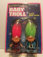 "GOOD LUCK BABY TROLL DUO, MOTHER & FATHER - 2"" Soma Troll Dolls - NEW"