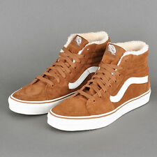 Vans Sk8 Hi Pig Suede Mink Robe Brown White Shoes Mens 7.5 Women 9 Faux Fur