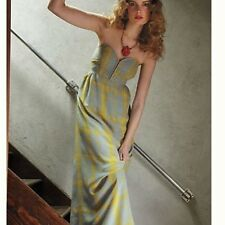 Anthropologie MAPLE Quilted Pastiche Silk Plaid Midi Sweetheart Dress Sz 4
