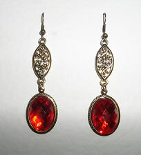 VICTORIAN STYLE FACETED VERMILION RED OVAL GOLD PLATED MARQUISE SHAPE EARRINGS