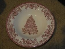 """Staffordshire Engravings Yuletide Design Red 8.5"""" Soup Bowl Christmas Tree"""