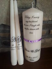 Personalised Wedding unity candles ribbons monogram or rings theme