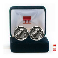 New Sterling Owl Tetradrachm Coin Cufflinks Great Graduation Gift - Bella Owl