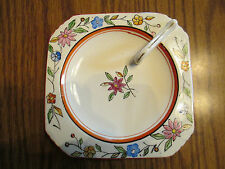 Vintage  Hand Painted Floral  Lemon/Candy Dish w/finger handle  -  Made in Japan