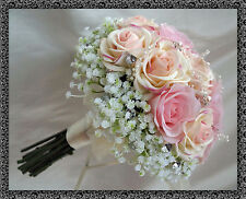 Wedding Posy BOUQUET Real Touch ROSE, tonalità di babypink con Gyp e diamante