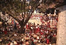 KODACHROME Red Border 35mm Slide Guatemala Market Scene Men Women Children 1940s
