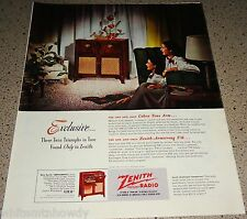 1948 ZENITH Hepplewhite Console Antique Radio Phonograph AD Original Advertising