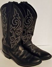 1409 JUSTIN Black London Calf Leather Cowboy Western Boots MENS 8.5 Womens 10
