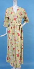 1940'S VINTAGE YELLOW PIQUET COTTON WRAP DRESS W FLORAL PRINT