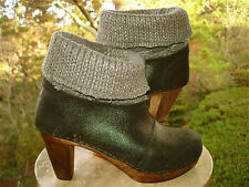 Sanita Black Metallic DREU PLATEAU Knit Cuff Wood Clog Ankle Boot 42 11.5