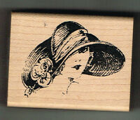 LADY IN FLOPPY HAT WOOD MOUNTED RUBBER STAMP - INKADINKADO - APPROX 6.5 x 5 cm