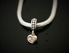 STERLING SILVER CHARM WITH 14CT ROSE GOLD PENDANT HEART FOR EUROPEAN BRACELET