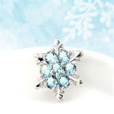 Special Silver Blue Sapphire Crystal Women Sparkling Snowflake Necklace Pendant