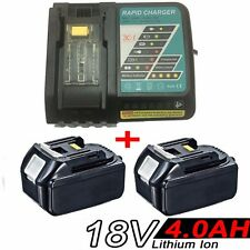 2x 4.0AH 18V Battery for Makita BL1840 BL1830 BL1815 LXT400 BJS+Rapid Charger
